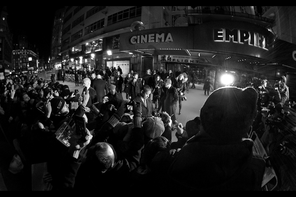 I can't tell you how many close range shots of Denzel Washington I missed changing lenses in zero degree weather when he was standing right in front of me. Going wide for this one was arguably worth it though.