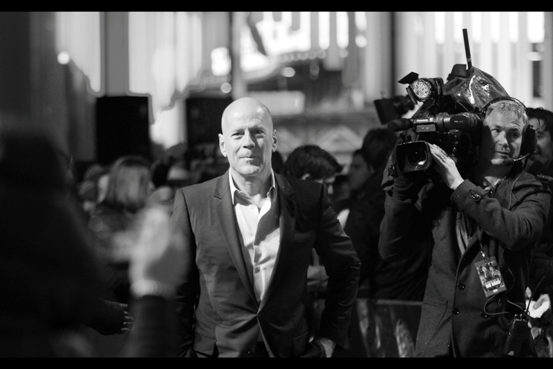 Then, all of a sudden, Bruce Willis, the man, the myth, the hair, was heading in my direction. He and Jason Statham are my two biggest unhirsuited heroes.