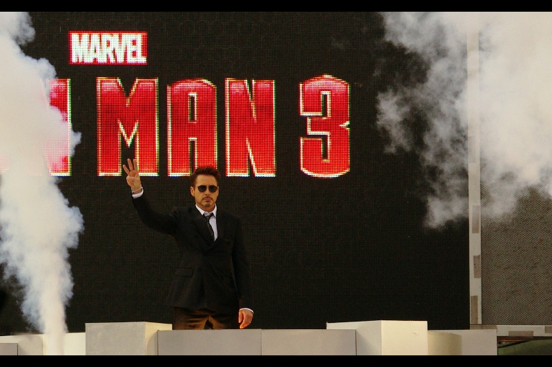 "And then, in the restrained way we would only ever associate with Robert Downey Jnr, he arrives. I just hope he's referring to his favourite Iron Man film, not his favourite film in the Matrix trilogy. I last photographed him almost exactly one year ago at  the premiere of ""The Avengers"" . That was a great premiere, too..."