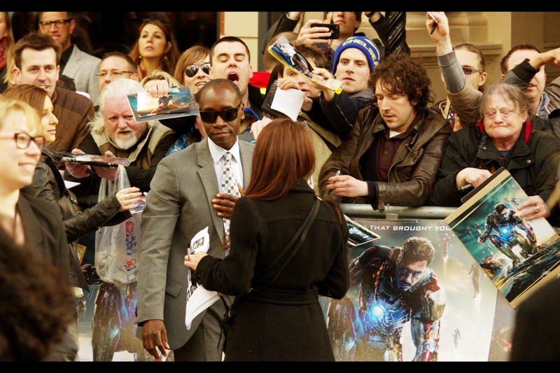 Don Cheadle, best known for Iron Man 2 and Crash, has arrived and is seriously challenging Robert Downey Jnr for inherent coolness. (I forgot my sunglasses at home, damnit).