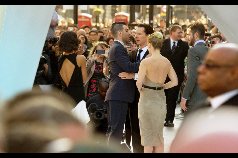"Benedict Cumberbatch then kisses Zachary Quinto and the randomness/ awesomeness quotient of this premiere just burst past the  ""Iron Man3"" premiere from two weeks ago . And Robert Downey Jnr stole somebody's KID at that premiere."