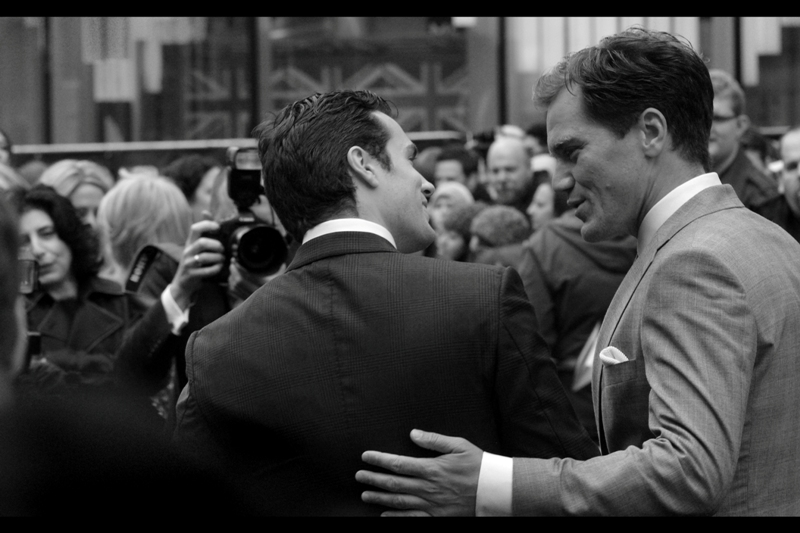 Superman and General Zod exhange an amicable hug. And probably some trash talk, too.