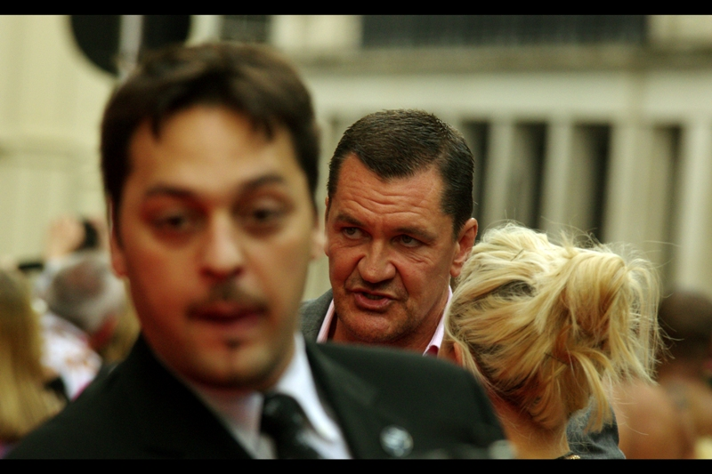 Unlike most of the people at this premiere, this gentleman is ALSO in the film : he's Craig Fairbrass.