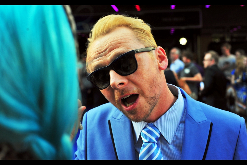 """""""So even with these tinted shades, I'm noticing your hair is somewhere between blue and green, yeah?""""  It's Simon Pegg, missing nothing"""