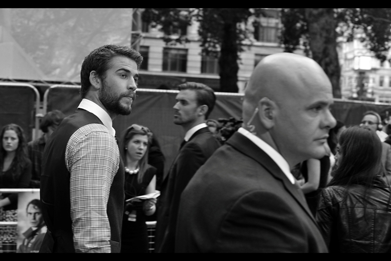 Hemsworth the Younger - aka Liam, (of The Hunger Games fame) - zips past en route to providing moral support to his brother Chris.
