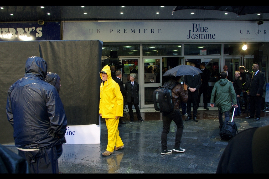 """""""Yellow Daffodil premiere? No, this is Blue Jasmine. You want the next cinema over"""".  You're welcome. Also, yes, as forecast, it's raining."""