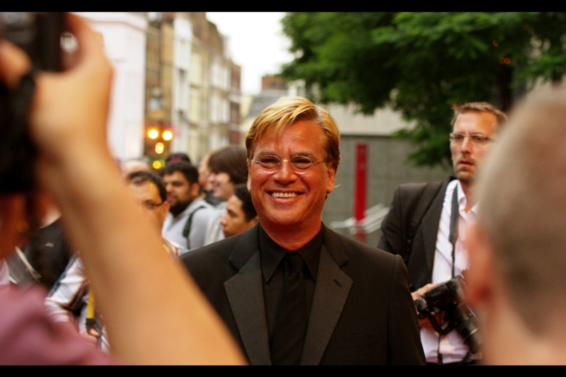 """How's your camera's white balance coping with my spraytan?""  Ordinarily, I'd leave the comment at an attempted joke, but this is Aaron Sorkin and he was screenwriter for A Few Good Men, The Social Network and Moneyball (all excellent) and creator of The West Wing. He won the ""Writer"" Award."