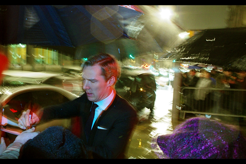 Things have gotten so bad, light- (and now weather-) wise, that I've done something so obvious I'm surprised I didn't think of it earlier.... I'm using the flash on my camera. It's a failure of sorts... I don't like flash. Also : this is Benedict Cumberbatch, who is very cool (and was when I took this photo as well)