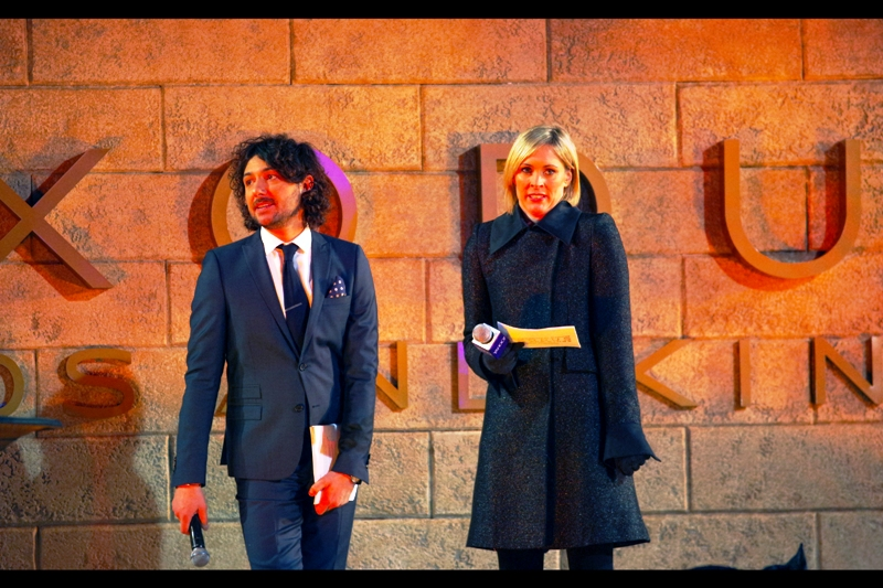 Our two hosts for this evening are Alex Zane and Jenny Falconer (?). I'm not necessarily a massive fan of either, but I am celebrating because this is one of only a couple of photos of the stage that my Pentax Managed to get properly in focus on the night. Damn you, Pentax K3.