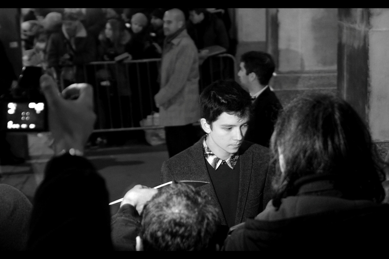 """Only once this evening did somebody else's fortuitous flash illuminate the subject in front of me : in this case Asa Butterfield, arguably best known for playing the lead in Ender's Game, last photographed by a lot longer ago at  the premiere of """"Hugo (in 3D)"""""""