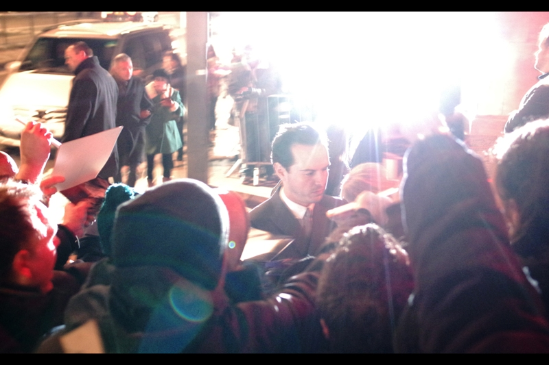 Insane camera flashes from the other public pen coincide with the arrival of Andrew Scott, best known for being Moriarty in the TV Series 'Sherlock', but also in the recent movie 'Pride' which I went to the Apple Store event for months back and never posted a journal for.