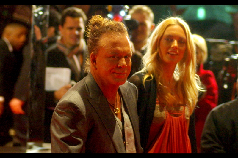 Mickey Rourke is at too close a range for me to consider any kind of smarmy insult. Even here, at home, sitting at my laptop one day later