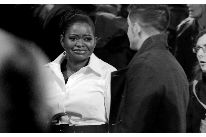 This is Octavia Spencer, who ended up winning the Best Supporting Actress award. Despite her expression, Octavia probably didn't know this yet