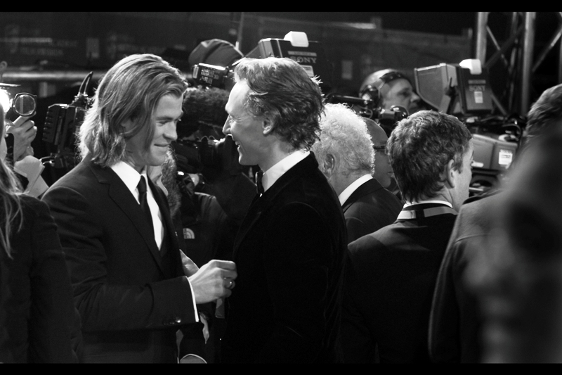Ah, the greeting that sparked a thousand furiously erotic fanfics. Loki and Thor (from 'Thor' and the upcoming 'The Avengers' movies) reunite on the red carpet.
