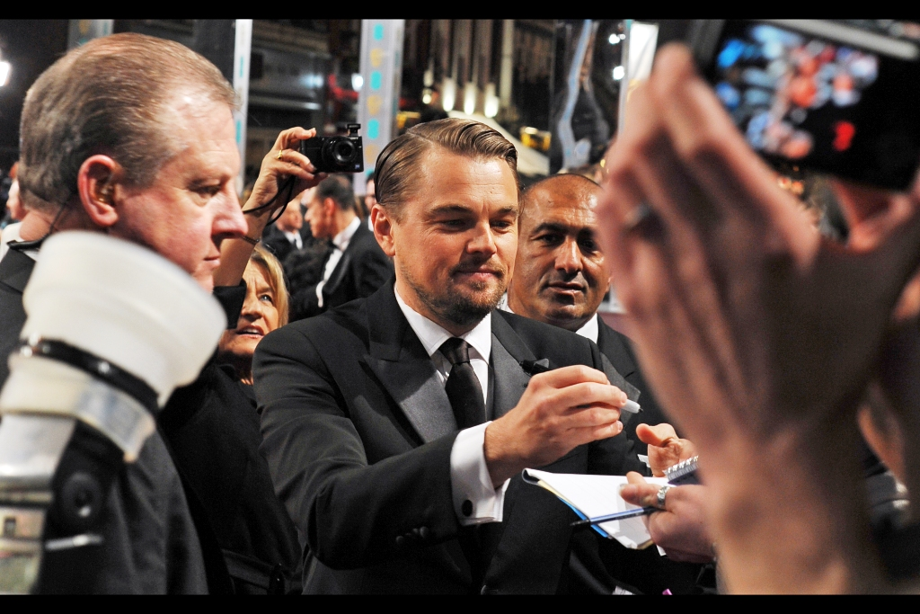 OMG It's Leonardo DiCaprio, and although the girls behind us had proven themselves to be charming and dignified examples of humanity up til now, that was about to change somewhat.