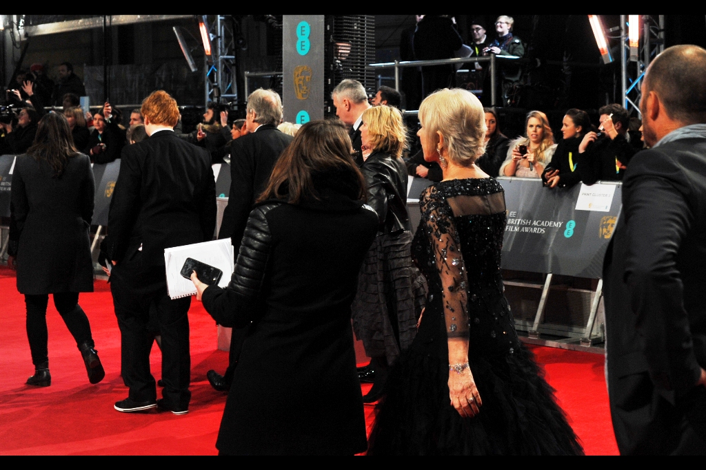 Meanwhile, BAFTA Fellowship awardee Helen Mirren DID scuttle past me in the confusion…