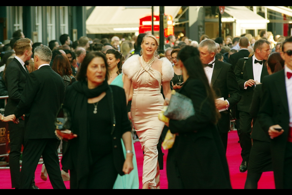On any other day I'd quip that this is obviously Brienne of Tarth from Game of Thrones, however I photographed actress Gwendoline Christie at  the 2014 Baftas back in February  and she didn't look quite as much likely to stab somebody carrying a tray of Hors D'oeuvres than this lady.