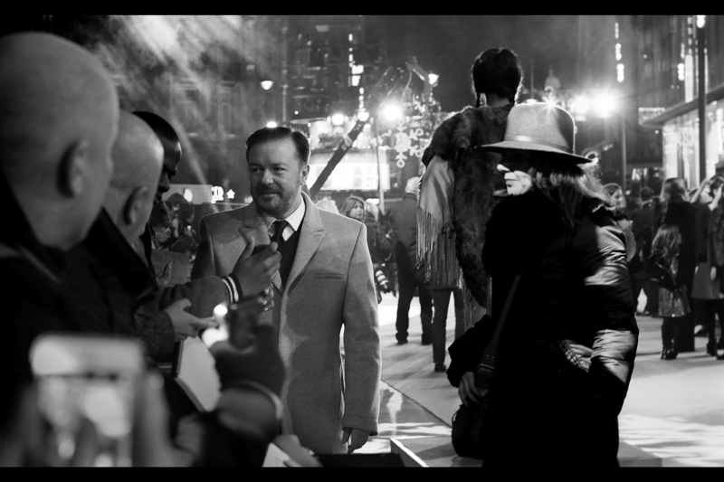 Our first arrival is comedian (and Golden Globe winner) Ricky Gervais. By his usual standards, his presence in this movie almost counts as a serious dramatic role.
