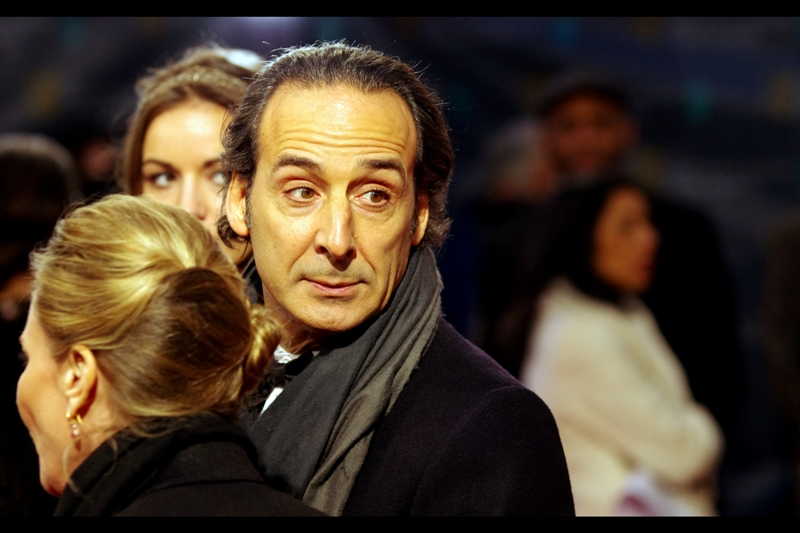 Our first arrival of legitimate note is composer Alexandre Desplat, who ended up winning a Bafta for best original score for The Grand Budapest Hotel. His scarf is amazing as well.