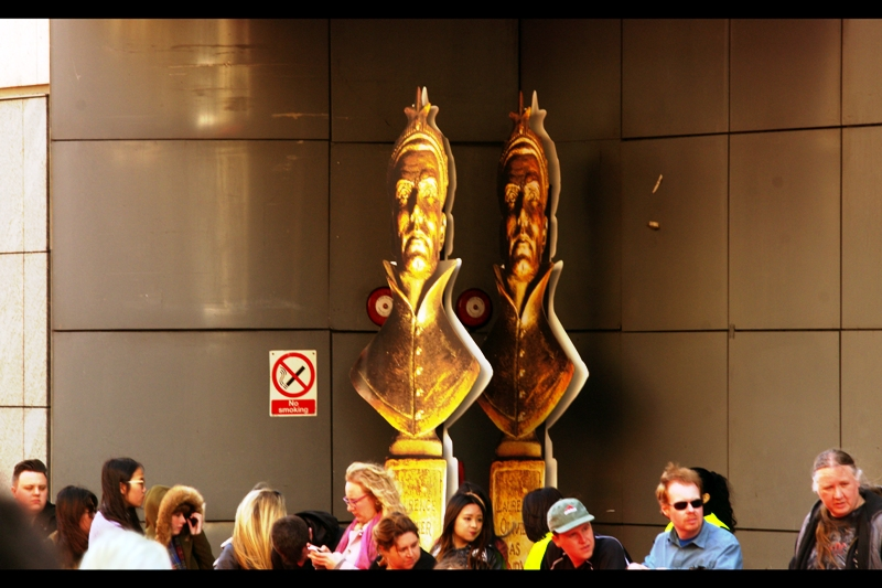 As a physical object, an Olivier Award (not pictured to scale) is one of the more intimidating trophies you can win. Last year they had a couple of them on the red carpet, but this year they only had two and they were glowering in a darkened service vestibule behind the crowd, probably teaming up and beating up people for their lunch money.