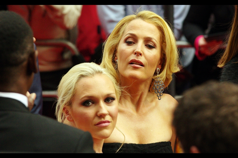 """""""Younger, and with a nose ring. You probably think you're edgy, but I could snap your neck and you'd never expect it"""" . I'm a big fan of Gillian Anderson, and younger/edgier though Nose Ring Lady might be, I wish she wasn't blocking my shot of Gillian Anderson."""