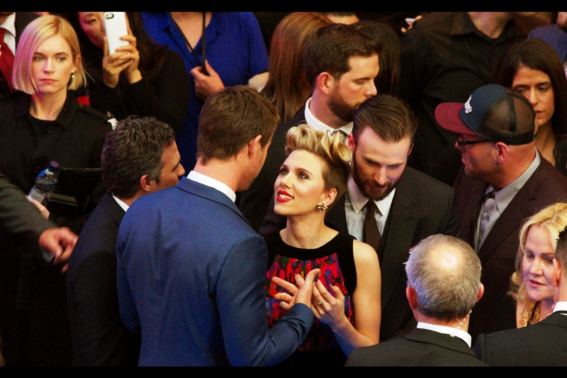 "Girl at top left, looking at Chris Hemsworth : "" Oh, would that those fingers were entwined in mine""  Me, at laptop back home, looking at Scarlett Johansson "" Oh, would that those fingers were entwined in mine"""