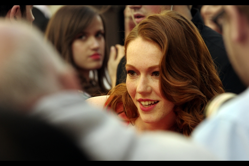 "Incredibly, I recognise her! She was in the Dexter Fletcher-directed  ""Wild Bill"" (and at its premiere)  back in 2012, and the director's date at  the premiere of Titanic in 3D  as well. Also photographed her at last year's BFI London Film Festival. Incidentally, ""Wild Bill"" is a really good film and Will Poulter is fantastic in it.  (edited to add : Charlotte Spencer)"