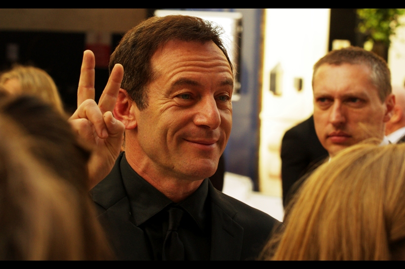 Jason Isaacs makes it two people in a row I can identify without assistance from the crowd, wireimage/getty, or insanely lucky guesswork. He's best known for playing Draco Malfoy's dad Lucius (in a blonde wig) in the Harry Potter films.