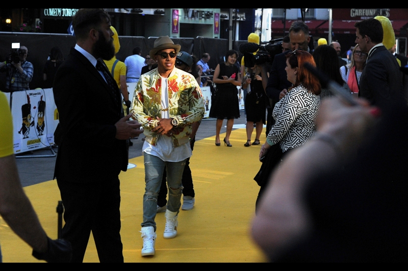 Also not in the movie, but wearing a jacket so bizarre that it's probably a breach of his drivers contract with Mercedes, is two-time Formula1 world Champ Lewis Hamilton
