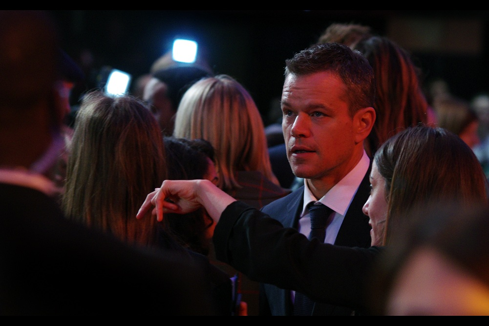"""""""And so the itsy bitsy spider went... you're not listening are you?""""  I've previously photographed Matt Damon at the premieres of  """"Invictus""""  and  """"The Monuments Men"""""""