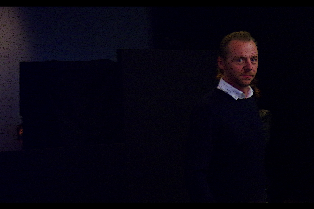 from out of the darkness emanates the presence of the 'Nerd do Well' himself, Mr Simon Pegg.