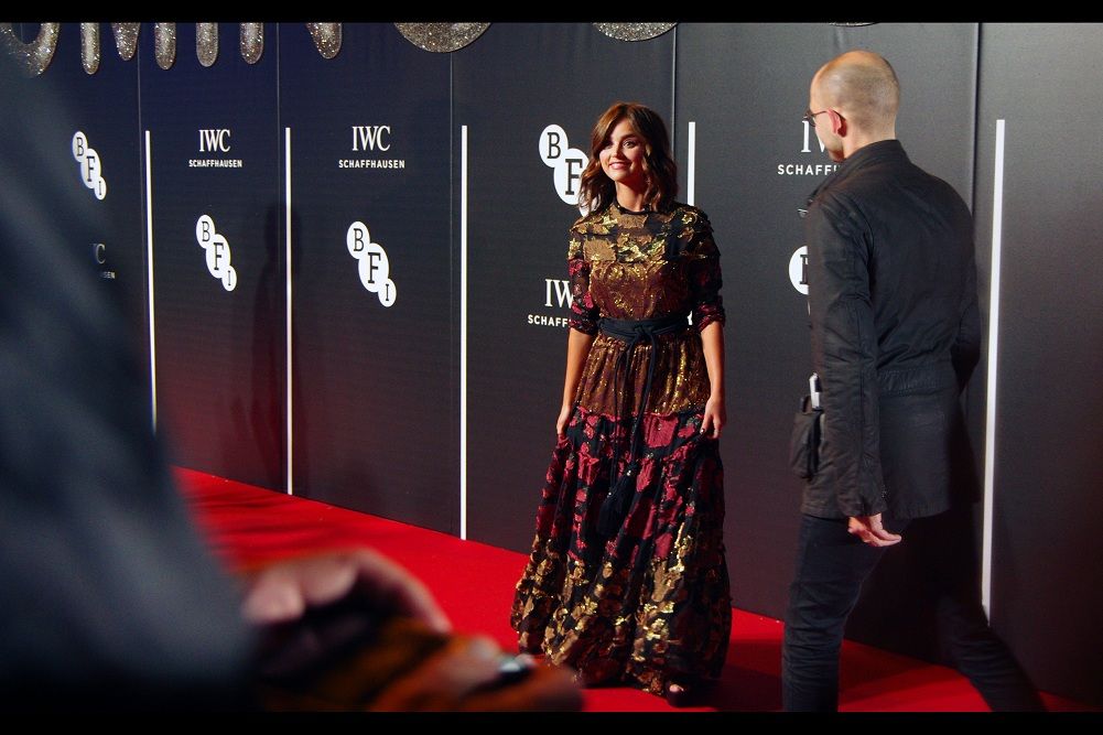 Jenna Coleman is pretty enough that not even her colourful sparkly dress distracts me..... from... wait... what was I saying?