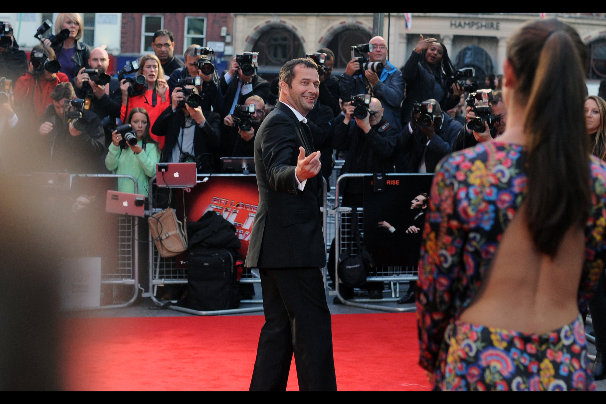 """Hey, babe. Wanna pose with me on the red carpet? "" I have to assume that's James Purefoy's wife/girlfriend, or that's a strategy a whole lot of men on red carpets are going to be trying."