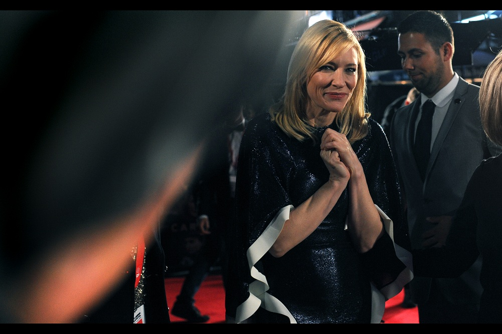I'm not entirely convinced about the vaguely Mrs Claus / Dominatrix / Halloween dress Cate Blanchett is wearing at this premiere, but I'll admit I've been wearing the same Lonsdale hoodie to almost every BFI LFF premiere this year ...