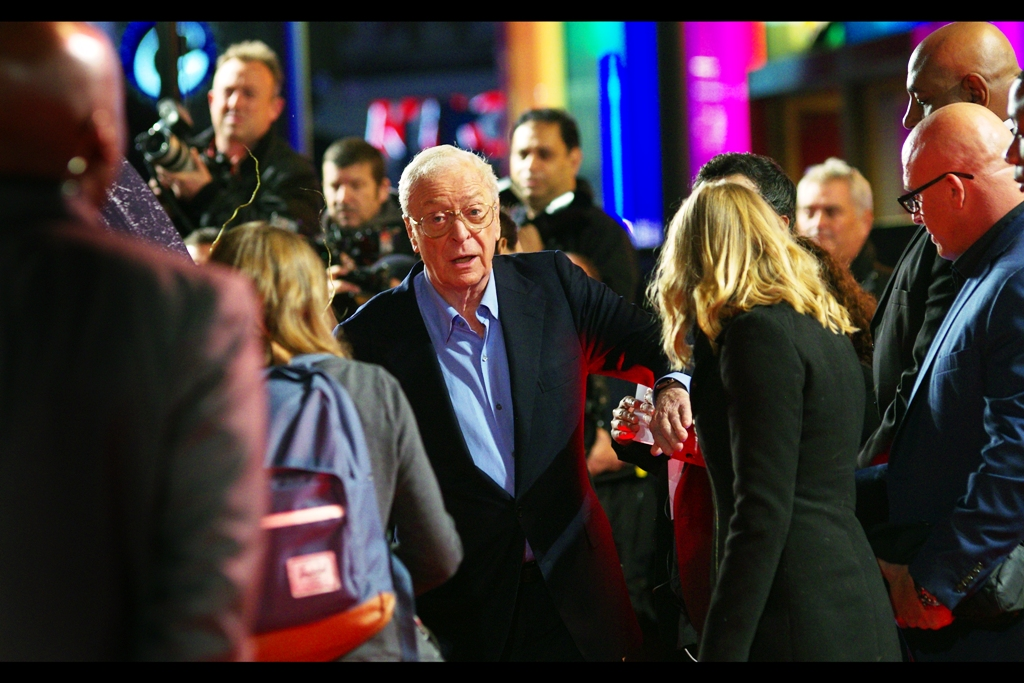Michael Caine (who I last photographed last week  at the BFI LFF premiere of 'Youth' ) is taking a racing line past the Paparazzi en route to the interview station.