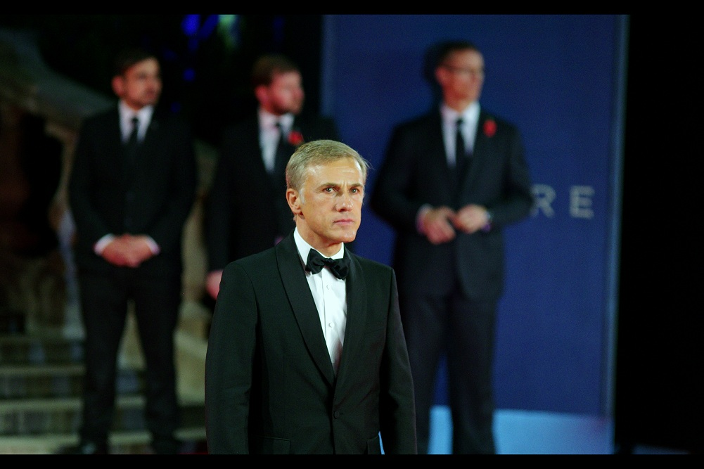 Christoph Waltz, clearly hoping I don't call him on the five dollars he owes me... probably because his evil organisation can't break any note smaller than $5million...