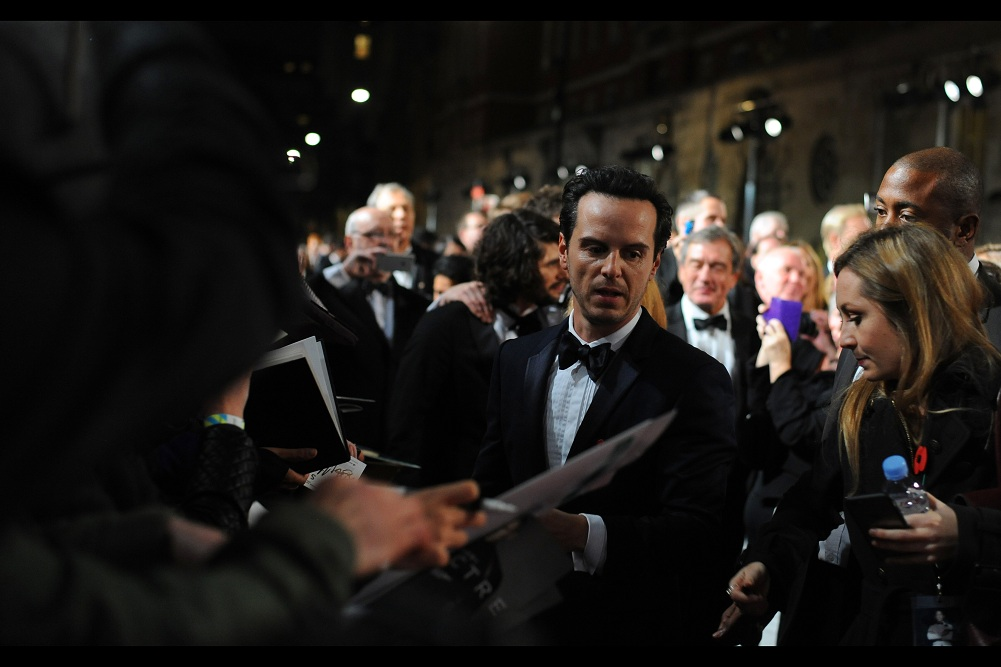 """""""I appreciate you coming to me with ideas for writing great ransom notes... but what you've done is terrible, and I can't help you"""".  I've previously photographed Andrew Scott  at this year's Baftas , at  the premiere of 'Locke' , and the  sort-of-premiere / Apple store event for the movie 'Pride'"""