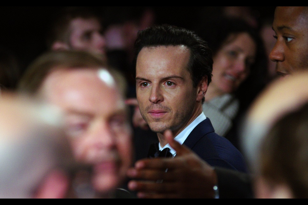 """""""If you're going to kill anyone at this premiere, might I suggest that pen over there, Sir?""""  - there are a disproportionate number of German people in the pen I'm in (and I'm borderline myself!) The awesome Andrew Scott is best known for playing the murderously insane Moriarty in the BBC series 'Sherlock'."""