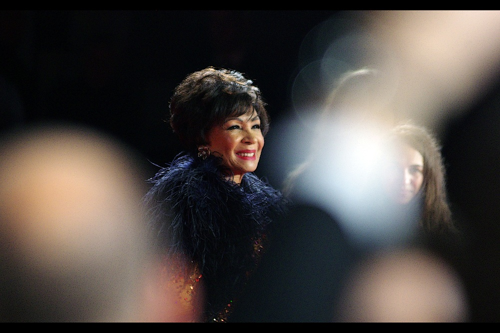 Forgetting egregious and exploitative photos... I was lucky enough to catch the truly awesome Dame Shirley Bassey. She successfully snuck past most people on the red carpet before taking her spot in front of the Paparazzi. She's best known for her awesome renditions of the James Bond theme songs 'Diamonds are Forever' and 'Goldfinger'