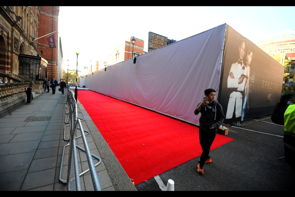 T-Minus 5 hours. 'Spectre' : it's the premiere so big that even the back entrance into the event has its own red carpet.