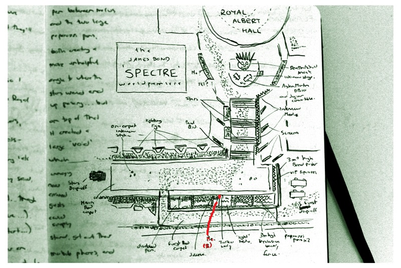The 'Spectre' World premiere layout, approximately, as drawn from memory and from what I could surmise... just because. (My position marked in red)