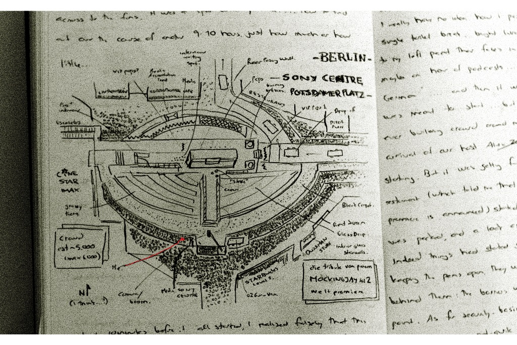 As with the Spectre premiere, I couldn't NOT afterwards draw a map of the premiere and my approximate location. In drawing it afterwards, my memory let me down so much that it completely escaped my notice / recollection that the buildings have a curved shape all the way around (ie. bottom left is entirely wrong)