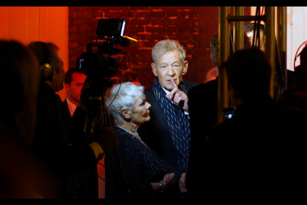 """Sssshhhh... he's carrying the two on this very important calculation"" . Sir Ian McKellen is best known for playing Gandalf in all the Hobbit and Lord of the Rings movies, as well as Magneto in all the original X-Men Films. I last photographed him (and Captain Picard hugging) at  the premiere of 'Mr Holmes'  earlier this year."