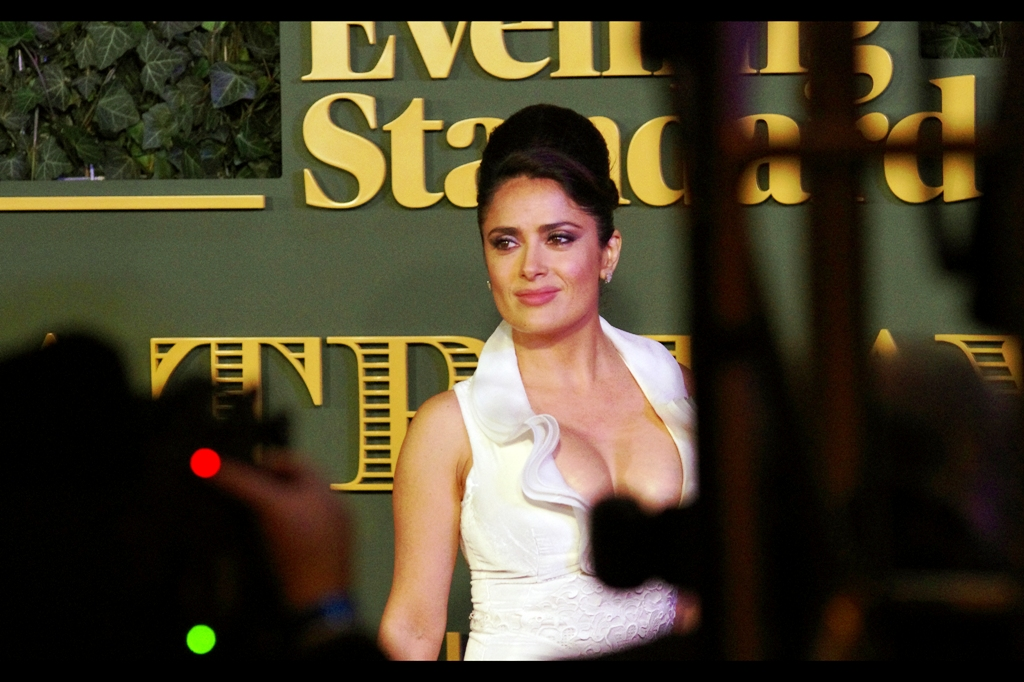 """If any of you photographers can name even one movie I've been in without imdb, I'll accept that you're not distracted"" . Well.... I photographed Salma Hayek at  the premiere of 'Prometheus'  back in 2012, but she wasn't actually in that movie. Does that count? Also... I know this is a celebration of culture and class.... but is that piece of scaffolding REALLY there? RIGHT THERE??"