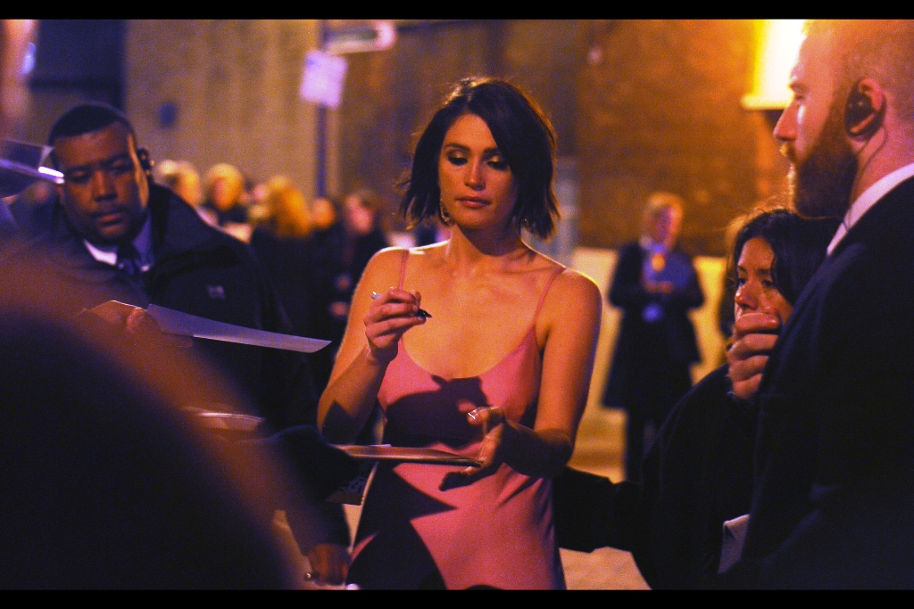 """You realise that with what I'm wearing, if I find that what I'm signing is up on ebay for anything less than insane amount, I shall be most displeased""  former Bond Girl (and recipient of the night's award for 'best newcomer in a musical') Gemma Arteron was probably the least appropriately dressed attendee on the night. I'm pretty sure the temperature was in the very low single digits celsius."