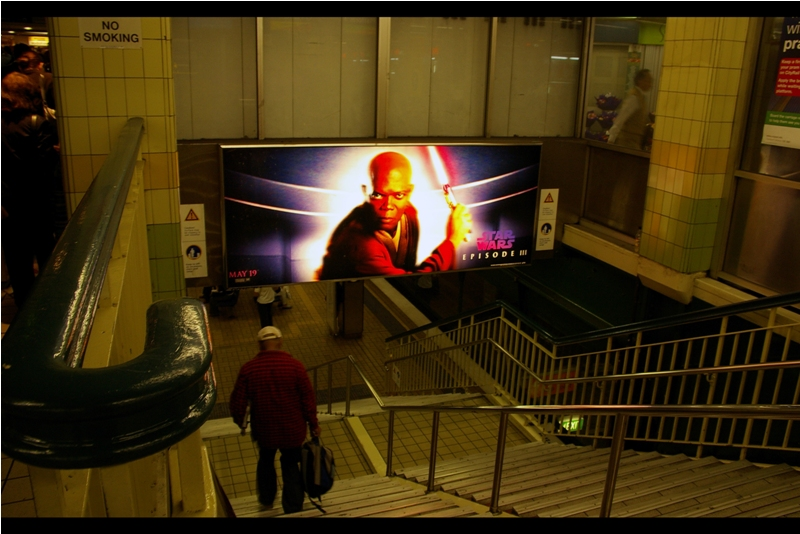 OMG it's Samuel L Jackson!!  No, not the poster - that's Jedi Master Mace Windu <TM> - I'm talking about the dude walking down the stairs. I think it's Samuel L Jackson, or rather I want it to be him so badly I'm not willing to walk downstairs and possibly find that it's not him.