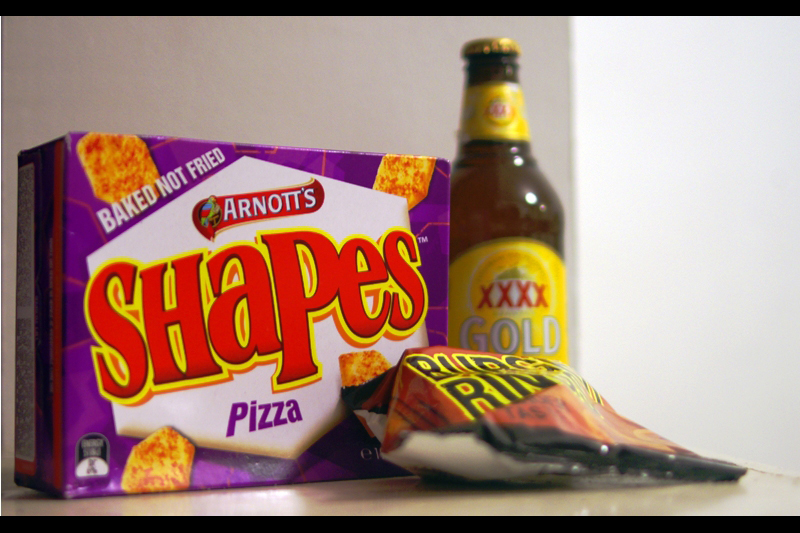 Burger Rings, Pizza Shapes and a bottle of XXXX Gold. Plus I have a tin of Milo in one of the cupboards. Happy Australia Day, one and all!