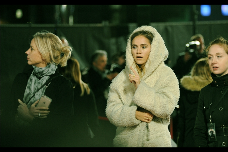 """""""Okay... maybe the sheepskin bathrobe wasn't the best choice at a glamorous premiere such as this. But it's winter in London people..."""".  Three of the four layers I'm currently wearing agree with Suki Waterhouse on this."""