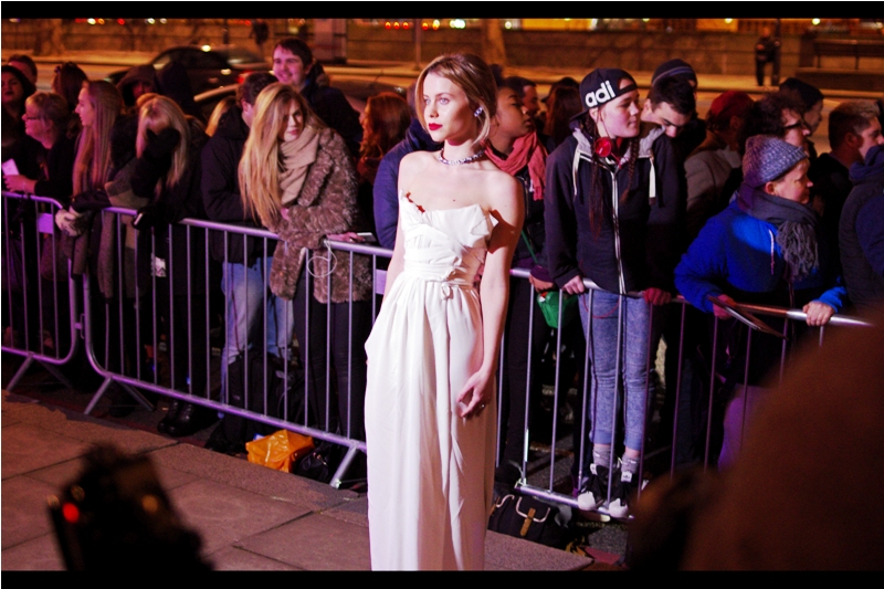 I don't know (a) who she is, (b) who she's wearing or (c) whether that dress is intrinsically capable of supporting itself or its wearer. But I'm wearing three layers of clothing on MY shoulders, and she clearly is not.