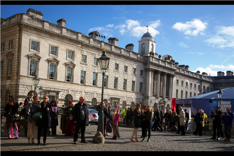 Somerset House is a pretty cool place to host a Fashion Week - it's a nice open area where weirdos can mingle and be photographed by other weirdos, while wealthier, or more influential, or more beautiful weirdoes can escape the regular weirdos and go inside the big tent.